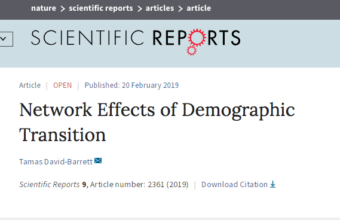 The effects demographic transition has on the social network, is the topic addressed by CICS researcher, Tamas David-Barrett, in his most recent paper