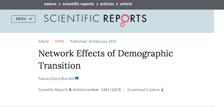 The effects demographic transition has on the social network