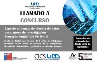 LLAMADO A CONCURSO | CICS busca un PhD para su proyecto Fondef