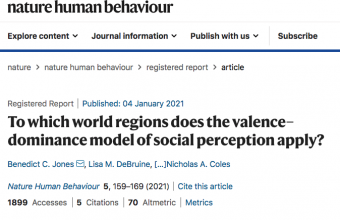 To which world regions does the valence–dominance model of social perception apply?